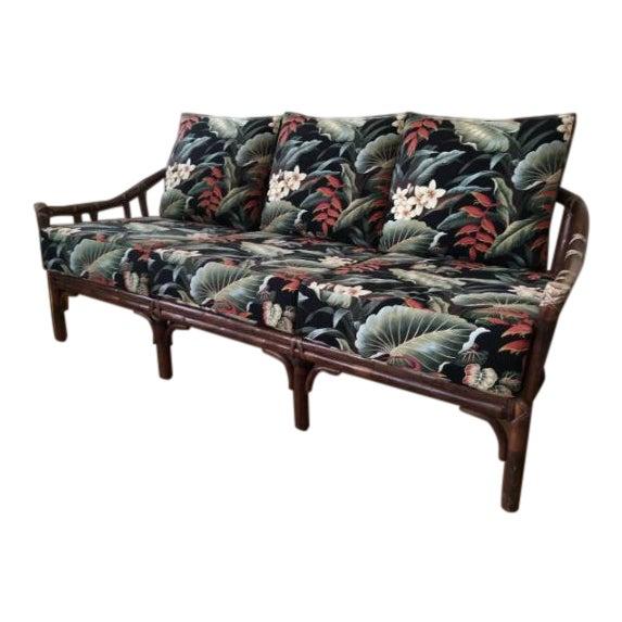 Vintage McGuire Rattan Sofa With Hawaiian Style Barkcloth Floral Cushions For Sale
