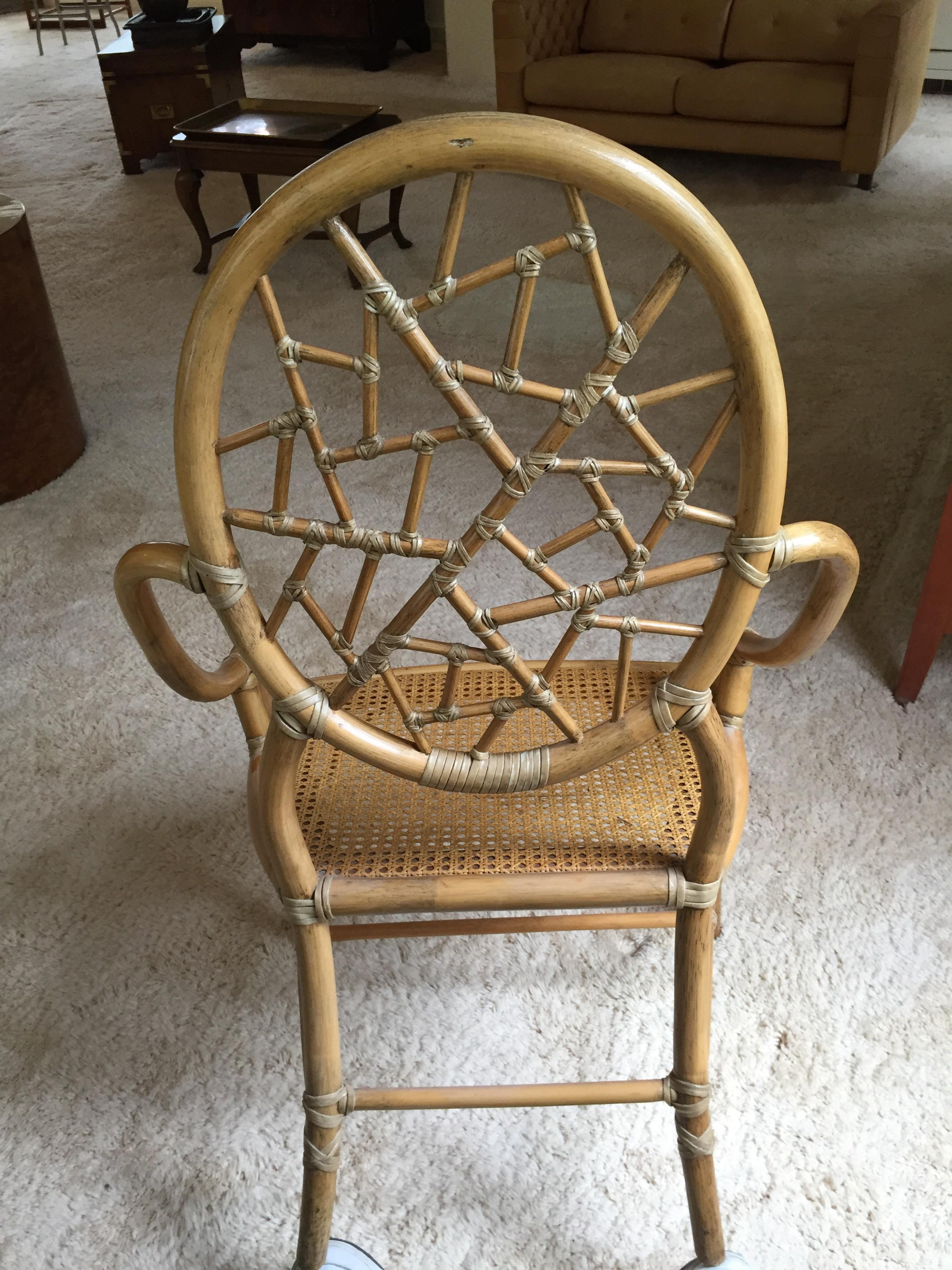 Vintage McGuire Cracked Ice Rattan Chair   Image 4 Of 7
