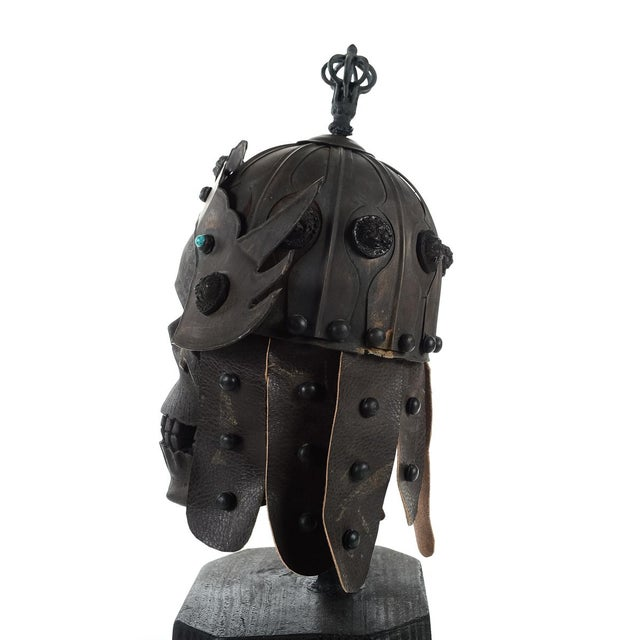 Gold Chinese Bronze Warrior Helmet For Sale - Image 8 of 9