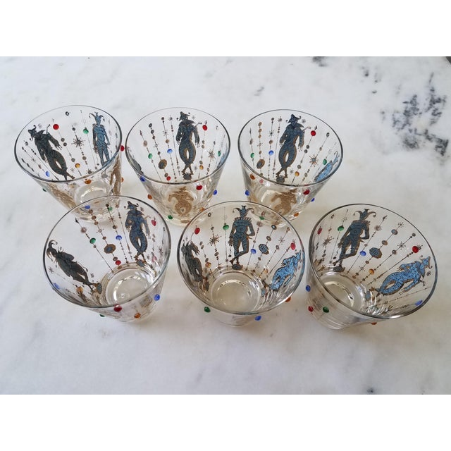 Set of 6 Culver Mardi Gras jeweled double old-fashioned glasses-- these are the big ones that hold 12 oz! Each glass...