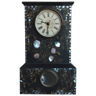 19th Century Turkish Iron Clock with Mother-of-Pearl Inlay