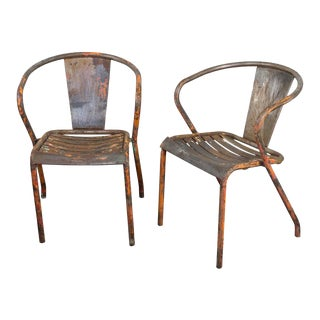 Pair of French Tolix Industrial Chairs With Distressed Orange Paint Finish For Sale