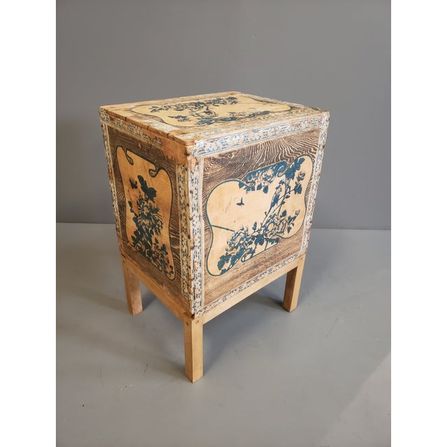 Blue Antique Japanese Tea Crate on Stand Side Table For Sale - Image 8 of 13