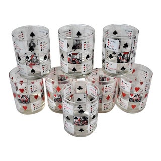 Vintage 1974 Betty Utley Deck of Cards Low Ball Glasses - Set of 8 For Sale