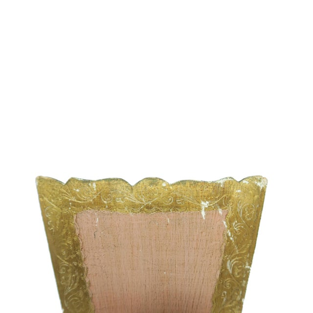 Florentia Vintage Florentina Italy Italian Light Pink and Gold Waste Basket Trash Can Bin For Sale - Image 4 of 5