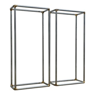 1970s Chrome and Brass Shelving Units - a Pair For Sale