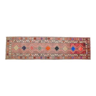 Hand-Knotted Turkish Kurdish Runner Rug. Low Pile Tribal Runner 2′9″ × 10′6″ For Sale
