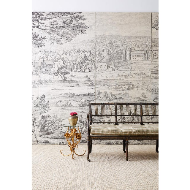Fantastic set of four mounted French Provincial Toile de Jouy textile panels that create a monumental wall sized artwork....