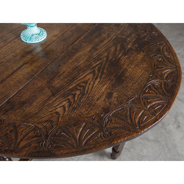 Antique English Oak Drop Leaf Table circa 1885 For Sale In Houston - Image 6 of 11
