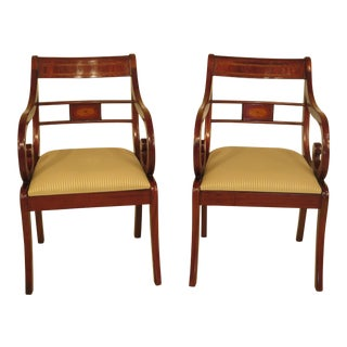 Inlaid Mahogany Regency Style Arm Chairs - A Pair