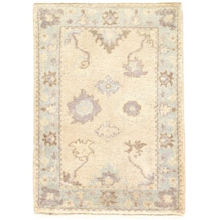 """Hand Knotted Tan & Blue Oushak Rug - 2'1"""" X 2'11"""" For Sale"""