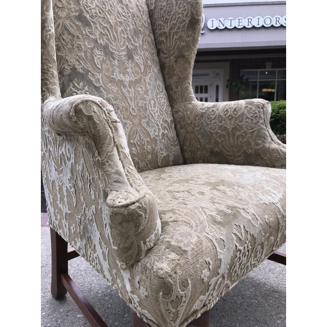 Early 20th Century Chippendale Style American Eagle Carved Leg Claw & Ball Foot Wingback Chair For Sale - Image 6 of 9