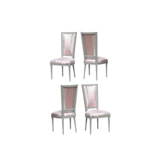 Louis XVI High Back Dining Chairs in Donghia - Set of 4