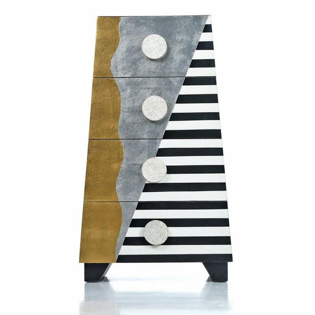 Memphis Sottsass Style Silver and Gold Foil Pyramidal Dresser Chest of Drawers For Sale - Image 10 of 10