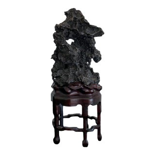 Chinese Scholar Rock in Metal Form on Display Stand For Sale
