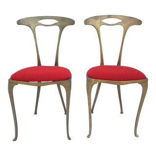 Gilt Art Nouveau Chiavari Chairs Cast Metal Knoll Wool Boucle - a Pair For Sale