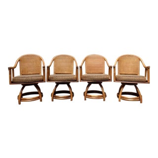 Vintage Rattan Bamboo Caned Barrel Back Swivel Arm Chairs For Sale