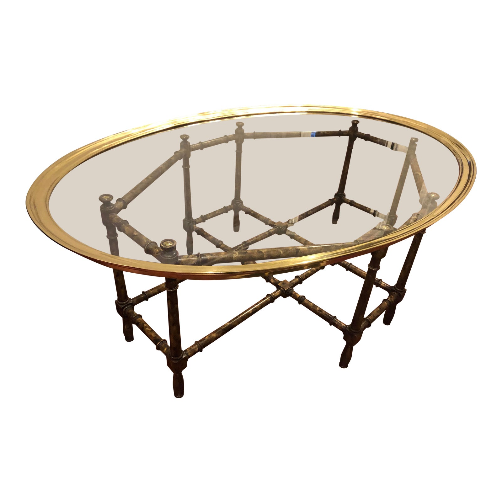 58cc9f46bbfb Baker Furniture Bamboo   Brass 2-Piece Tray Top Coffee Table
