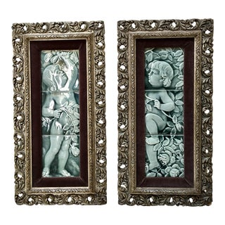 Late 19th Century Framed Gray Blue Tile Set by Isaac Broome - a Pair For Sale
