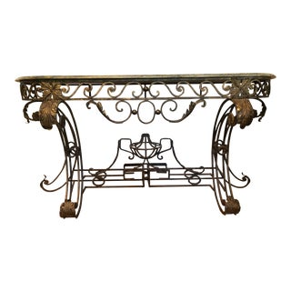 20th Century Regency Wrought Iron and Marble Server For Sale