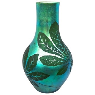 1920s French Deco Iridescent Acid-Etched Art Glass Vase For Sale