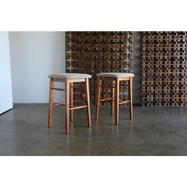 Brown Mid-Century Modern Kipp Stewart for Glenn of California Walnut Stools - a Pair For Sale - Image 8 of 11