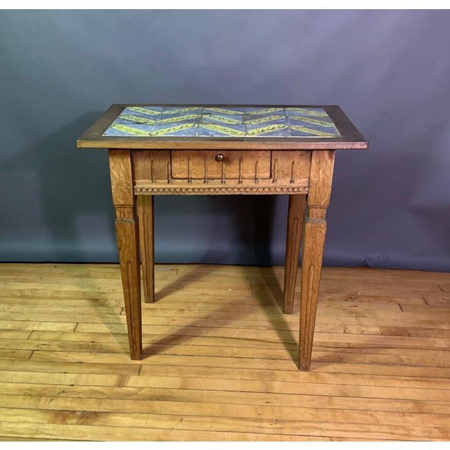 Early 20th Century Early 20th Century Louis XVI Style Kellinghusen Tile Top Table For Sale - Image 5 of 11