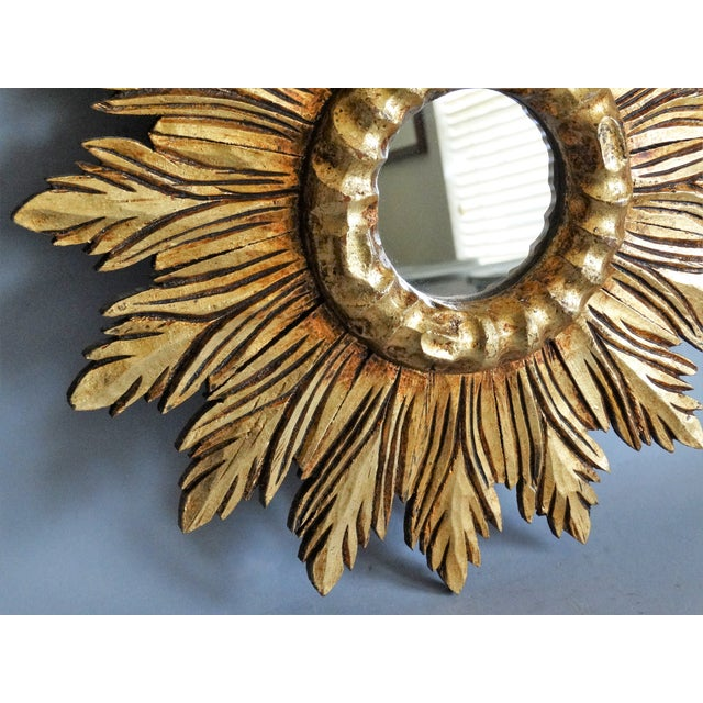 French Carved Gilt Wood Sunburst Mirror For Sale In Houston - Image 6 of 9