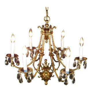Vintage French 6 Arm 6 Lite Cut Lead Crystal Bronze Brass Birdcage Chandelier For Sale
