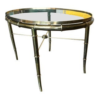 1960s Faux Bamboo Brass & Glass Coffee Table by Mastercraft For Sale