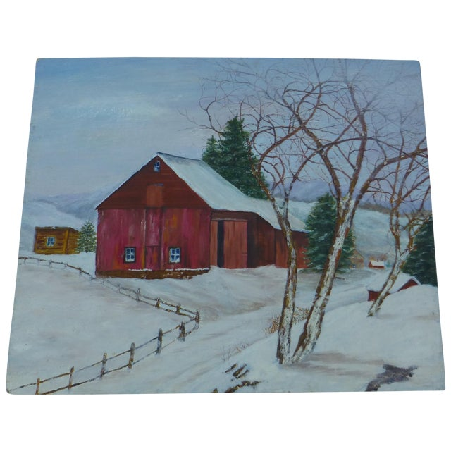The Old Red Barn Painting by H.L. Musgrave For Sale