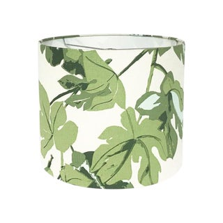 Large Custom Green Fig Leaf Drum Lamp Shade For Sale
