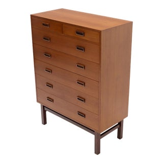 Danish Mid-Century Modern Tall High Boy Chest of 7 Drawers Dresser Cabinet For Sale