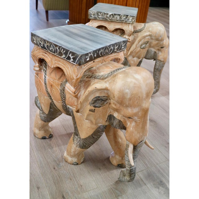 Carved Wood Elephants - a Pair For Sale - Image 4 of 6