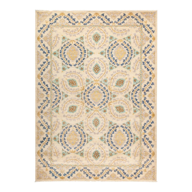 "Suzani Hand Knotted Area Rug - 6' 2"" X 8' 8"" - Image 1 of 4"