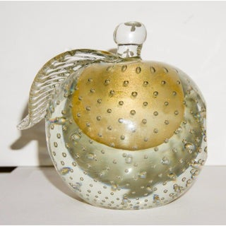 Barovier eToso Murano Glass Pear & Apple Gold Flecked Controlled Bubbles Bookends - a Pair Preview