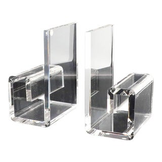 Vintage Rialto Geometric Lucite Bookends For Sale