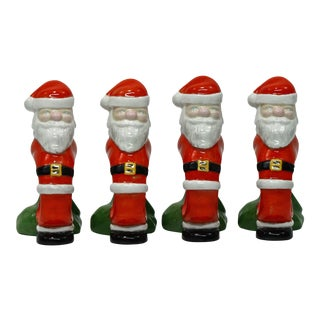 Ceramic Santa Claus Napkin Rings - Set of 4