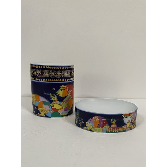 Abstract Expressionism 1980s Rosenthal Soap Dish and Covered Jar - 2 Pieces For Sale - Image 3 of 3