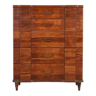 Hickory Manufacturing Vintage Cherry High Boy Dresser With Brass Handles For Sale