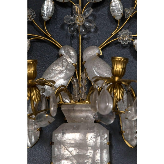 French Baguès Four-Light Bird Rock Crystal Wall Sconce For Sale - Image 3 of 6