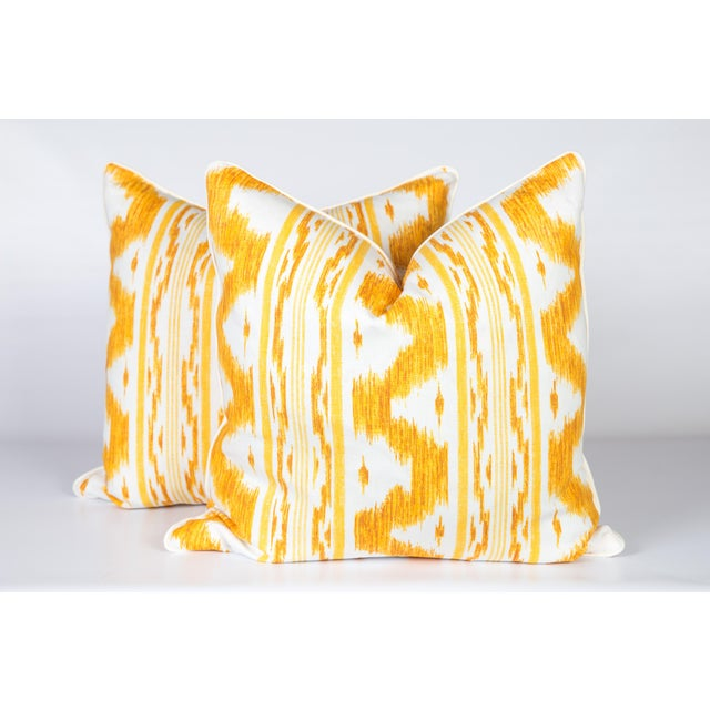 Canary and Ivory Linen Ikat Pillows - a Pair For Sale - Image 4 of 5