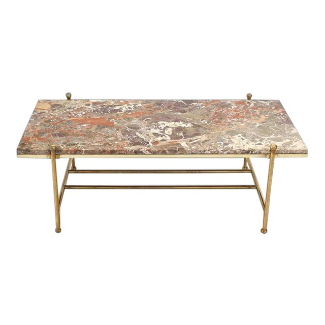 Mid Century Modern Brass Marble Coffee Table