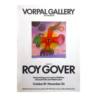 Roy Gover Vintage 1969 Rare Mid Century Modern Lithograph Print San Francisco Exhibition Poster For Sale