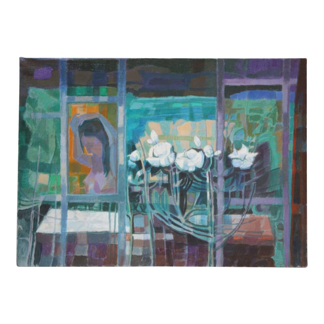 'Woman With Flowers' Acrylic on Canvas by Peppino Mangravite For Sale