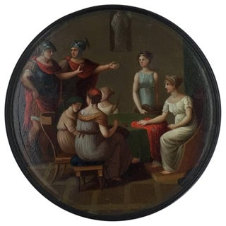 19th Century German Neoclassical Painted Lacquer Snuff Box For Sale