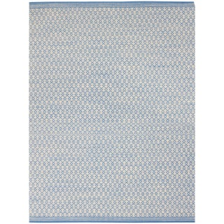 Loft Modern Blue Flat-Weave Rug 5'x8' For Sale