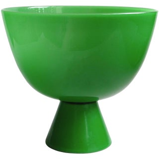 Murano Emerald Green Italian Art Glass Centerpiece Compote Bowl Vase For Sale