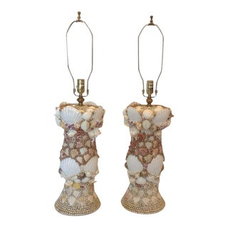 Pair of Custom Shell Art Lamps For Sale