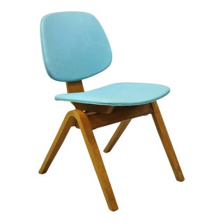 Mid Century Modern Thonet Joe Atkinson Bentwood Blue Vinyl Side Chair For Sale